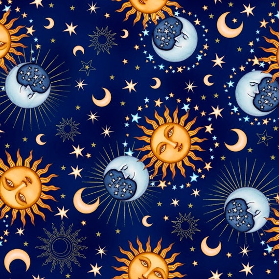 Celestial sol 24378w sun moon cotton fabric by for Celestial pattern fabric