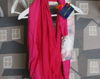 Upcycled Fucsia/White Double Face Loop/Scarf, Pink Autumn Foulard, Trendy Teenager's Loop