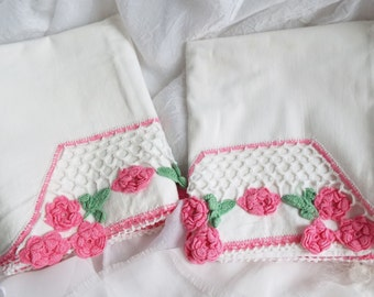 Pair of Vintage PILLOWCASES with EMBROIDERY and CROCHET Shabby Rose Chic White Pink