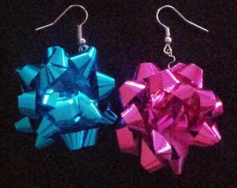 Christmas bow earrings! (Teal & Pink)