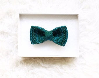 Teal Green Knitted Bowtie, Handknit with Super Soft Merino Wool