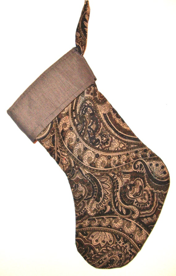 HANDSOME HANDMADE Christmas Stocking, unique OOAK,paisley corduroy shades of taupe brown black w. a bronze linen top border,felt lining