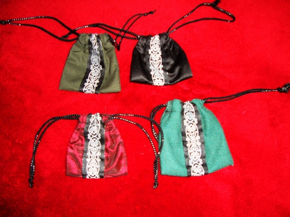 4 Handmade Fancy Fabric MINI Drawstring Pouches w. Trim,perfect for tiny gifts,candy,spices,charms,stones,ruins,bath salts,and so much more