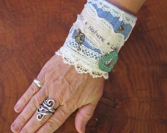 Statement Wrist Cuff, Fabric Bracelet, One of a kind Cuff, Great Christmas Gift