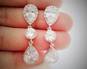 cubic zirconia Bridal tear drop earrings,bridal tear drop earrings,stone earrings,clear crystal stone earrings,bridal earrings