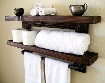 Rustic Wall Shelf Wood Shelf Floating Shelves Towel Rack Bathroom Towel Shelf Storage Organization Toilet Paper Holder Bathroom Storage