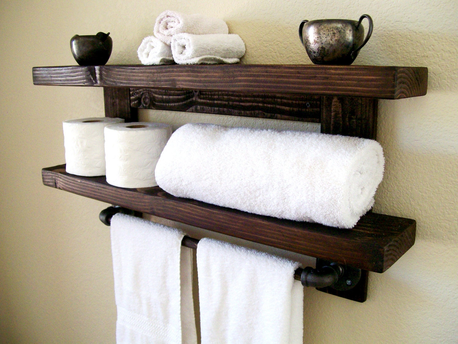 Floating shelves towel rack floating shelf wall shelf wood for Bathroom towel storage