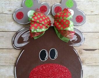 Christmas door decoration, Reindeer door decoration, door hanger ,Christmas decor'