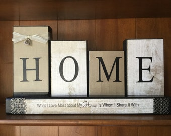 Home-What I Love Most About My Home Is Whom I Share It With Wood Block Sign