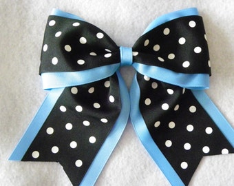 Columbia Blue Layered with Black with White Polka Dots Hairbow