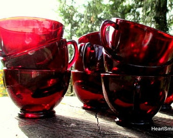 Anchor Hocking Royal Ruby Punch or Snack Cups - Set of 12 Ruby Punch Cups - Royal Ruby Tea Cups