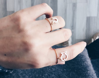 14K Solid Gold Cute Fish Luck Ring,Lucky Fish Ring,Tiny Fish Ring,Best Friend Gift,Bridal Jewelry,Christmas Gift,Gold Ring,Free Shipping