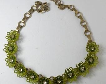 Vintage Rhinestone Olive-Green Enamel Flower Necklace