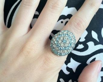Baby Blue & White Vintage Gem Statement Ring