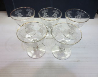 Floral Etched Clear Glass Liqueur, Sherry, Wine Glasses