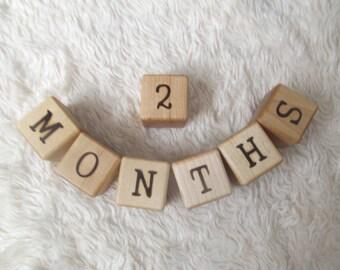 Baby Age Blocks | Wooden Milestone Blocks | Baby Shower Gifts | Wood Letter Blocks | New Baby Gift