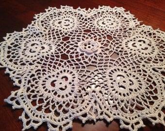 Ecru Rose and Shamrock doily, handmade crochet, round doily