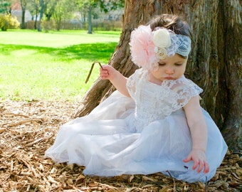 Vintage Couture Baby and Toddler Headband - First Birthday - Photo Prop - Lace - Rosettes - Flower - Pearls