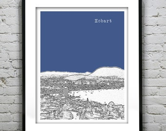 Black Friday Sale - Hobart Tasmania Skyline Poster Art Print Version 2