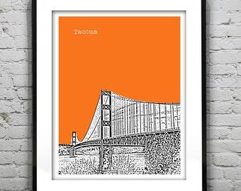 Tacoma Washington Poster Skyline Art Print Tacoma Narrows Bridge