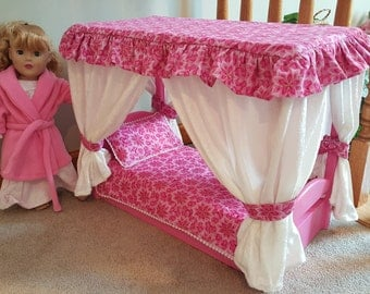 Canopy Bed for American Girl Doll (pink)