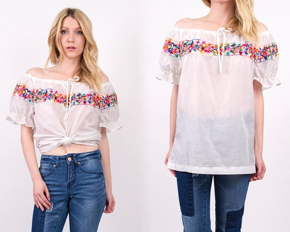 vintage 70s off the shoulder mexican blouse by VonVixenVintage
