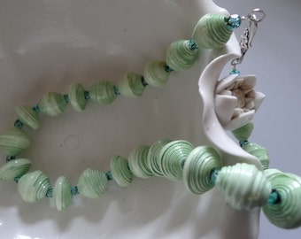 OOAK necklace with soft green hand-rolled paper beads, glass beads and 925 silver fastener