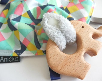 Wooden Elephant teether and tag blanket-Geo