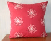 "Red pillow Printed linen cushion cover Linen 100%  pillow cover Throw pillow - 45 cm x 45 cm (18"" x 18"")"