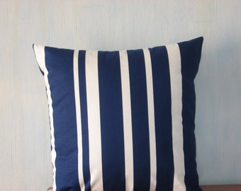 """Printed linen cushion cover Linen 100%  pillow cover Blue and white striped cover Throw pillow - 45 cm x 45 cm (18"""" x 18"""")"""