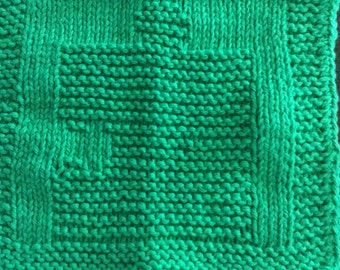 Set of 2 Green Autism Awareness Knitted Puzzle Piece Washcloths
