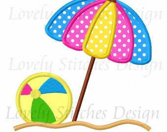 Summer Beach Umbrella Applique Machine Embroidery Design NO:0555