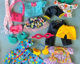 Doll Wardrobe, Rag Doll Clothes, Summer Clothes, Handmade Doll Outfits