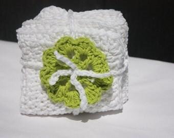 White Crocheted  Cotton Baby Washcloths - Baby Gift