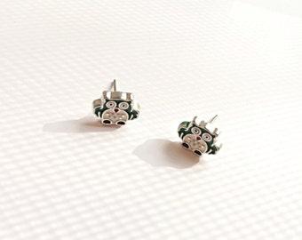 Green owl earrings - bird earrings