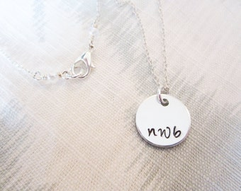 Custom Silver Monogram Initials Necklace, Bracelet, or Keychain - Hand Stamped Aluminum Tag on Sterling Silver or Silver Plated Chain