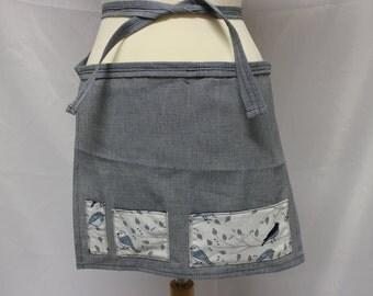 Birds Houndstooth Navy Waitress Vendor Short Blue Apron with Pockets