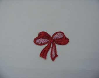 Red and Pink Bow Applique 4775