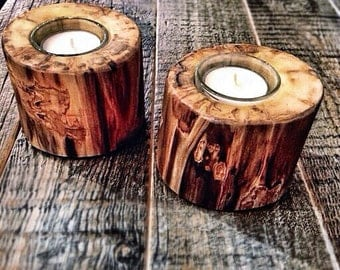 Log Candle Holders Set  Aspen Log Candleholders  Holiday Table Decor  Rustic Candle Holders  Votive Candles