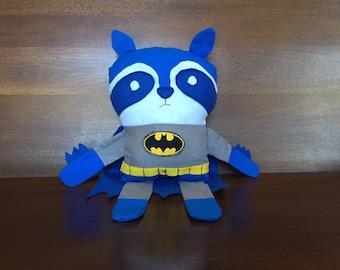 Stuffed Batman Raccoon - Forest Friends - Batman Plushie
