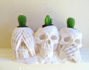Skull candle holder, hear no evil, see no evil, speak no evil