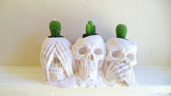 Skull candle holder, skull air plant holder, hear no evil, see no evil, speak no evil, FREE shipping