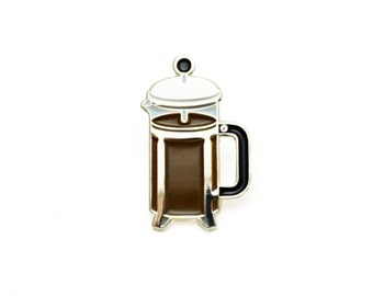 Coffee Press Enamel Pin (Silver)