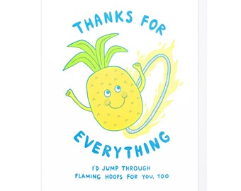 Thanks for Everything Pineapple Letterpress Card