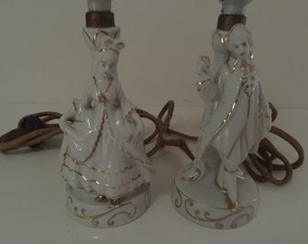 2_Vintage Boudoir Lamps French or Victorian Man and Woman with Gold Trim Japan