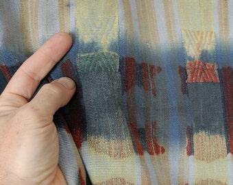 Distressed over-dyed shibori Naga cotton blanket, Naga tribal textile, blue red striped bedcover, cotton tie dye boho fabric OT24