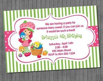 FLASH SALE 50% OFF Strawberry Shortcake Invitation