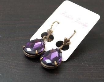 Earrings vintage/steampunk - purple