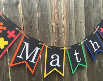 Math Banner - Classroom Decor - Back to School - Teacher Sign - Class Subject - Party decoration - Math Science - School subject