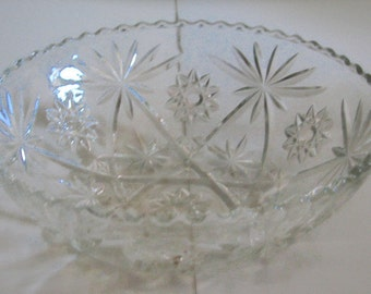 "EAPC Early American Prescut Glass, Star of David, Bowl, Serving Bowl, 10.75"", Anchor Hocking"